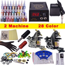 Cheap stuff Tattoo kits for beginners 28 colors & 2 Machines Tatttoo complete set of tattoo kit wiht free shipping(China)