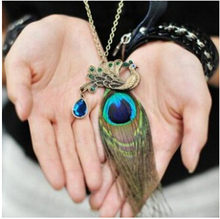 na049 Fashion Chinese Wind! Blue Peacock wonderful long peacock Feather Necklace Sweater chain