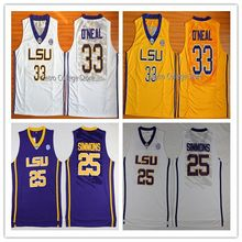 LSU Tigers College Jerseys 25 Ben Simmons Jersey 33 Shaquille ONeal Shirt throwback retro college jersey White yellow purple Me(China)