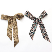 MENGLINXI Twilly 2017 Luxury Brand Small Silk Scarf Bow For Women Leopard Print Headband Handle Bag Ribbon Long Scarves