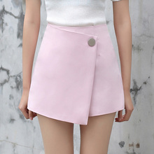 Yichaoyiliang 2017 New Arrivals School Pink A-line Shorts Skirts High Waist Asymmetric Skorts Summer Female Bottoms(China)