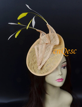 Beige yellow sinamay fascinator lace hat for Wedding Races party.