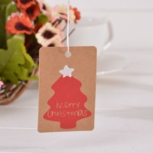 "FUNIQUE 50PCs Christmas Series Bookmark Labels Tags For Gift Box Decoration Snowflake Tree Multi ""Merry Christmas"" Letter Tags"