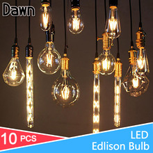 10pcs Antique LED Lamp 220V Filament Light E27 E14 LED Bulb 2W 4W 6W 8W Vintage Edison Bulb Glass Led Specialty Decorative Light(China)