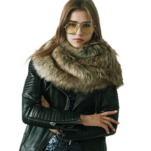 2017 Luxury Brand Faux Fur Ring Scarf Women Winter Warm Pashmina Scarve Ladies Thick Faux Fur Shawl Collar Wrap Scarves 4 colors