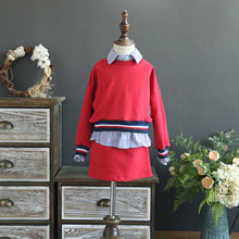 SexeMara Fine children's clothing 2017 autumn new Korean girl stitching two pieces of blouse with half skirt two sets