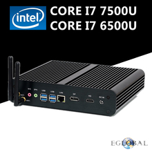 Eglobal Fanless Mini Computer Intel Core i7 7500U 6500U Barebone PC Windows 10 Intel HD Graphics 620/520 4K Ultra HTPC DP HDMI(China)
