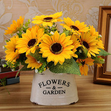 Home Artificial Sunflower Floral Ornament 2017 Simulation Plant Fake Flowers Plastic NEW Wedding Yellow Green(China)