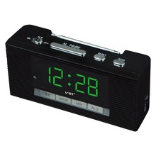 2017 Led Alarm Clock Large Display Radio Clock With Snooze Function Big Number Table Clocks Ac Power Desktop Clock(China)