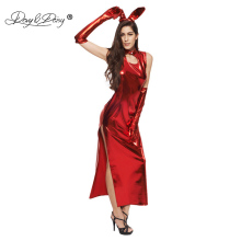Buy DAVYDAISY Women Sexy Dress Bunny Sexy Uniform Red Rabbit Cheongsam Latex Dress Erotic Clubwear Sexy Lingerie Sexy Costumes DR504