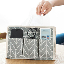 Multifunction linen Tissue Box Desktop Pumping Napkin Paper Holder Waterproof 6 Pocket Tiussue Case Storage Bag For Home Decor(China)