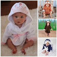 New Luvable Friends Animal Charater Square Hooded Bath Towel Set Baby Product Cartoon Baby Robe 100% Cotton Infant Bath Towels(China)