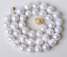 "Wholesale free shipping >>17"" 11mm baroque white Reborn keshi pearls necklace stone clasp j9491"