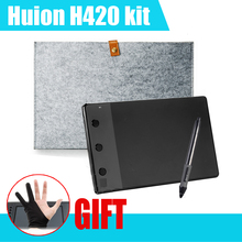 Huion H420 420 Graphic Drawing Tablet w/ Digital Pen + 10 Inches Wool Liner Bag + Two Fingers Anti-fouling Glove as Gift