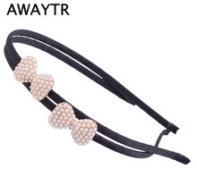 AWAYTR Pearl Mini Hair Accessories 2017 Cute Girls Headbands Hair Decoration Ladies Girls Butterfly Bow Hairband New Design