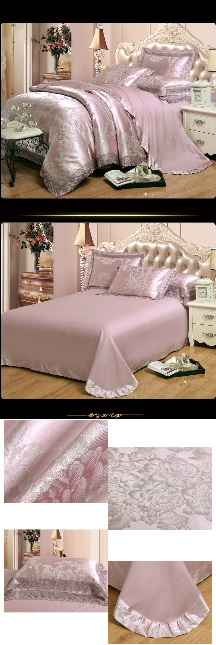 New Luxury Embroidery Tinsel Satin Silk Jacquard Bedding Set, Queen, King Size, 4pcs/6pcs 40