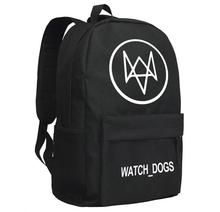 Watch Dogs Printing Black Men's canvas Computer School Bags Backpacks Game Cosplay