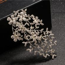 Silver Leaf Bridal Hair Combs Rhinestone Wedding Hair Accessories Bridal Headpiece Prom Hair Clip Party Tiara