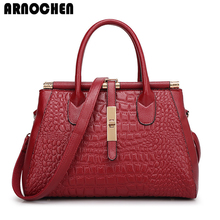 ARNOCHEN Women Bag 2017 Crocodile Pattern Women Leather Handbags Fashion Ladies Hand Bags Designer Handbags High Quality WYQ725