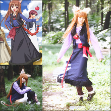 Anime Spice and Wolf Horo Cosplay Costume Suit Cartoon Holo Cosplay Clothes Uniform for Girls/Lolita Christmas Role Playing(China)