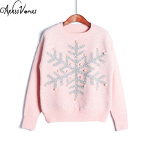 Winter Sweater Women Pullover Candy Color Christmas Sweater Character Snow Pullover Jumper Knitted Sweater Femme Fall 2017Poncho(China)