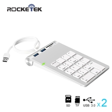 Rocketek USB mini Numeric Keypad with two USB 3.0 Hubs and SD/TF Card Reader for iMac MacBooks Digital number keypad(China)