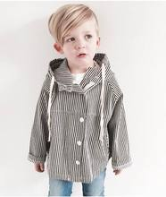 Spring Autumn Children Tench Coats Black White Stripe Hooded Long Sleeve Dust Coat Children Clothing 1-4T K665(China)