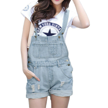 S-XL Top Quality Women Girls Washed Jeans Denim Casual Hole Jumpsuit Romper Overalls Light Blue Jeans Shorts Pants