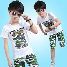 Boy Sets New Children's Wear Short Sleeve T Shirt+ Pant Summer Children Sports Sets Camouflage 2pc 4-14 Ages Free Shipping