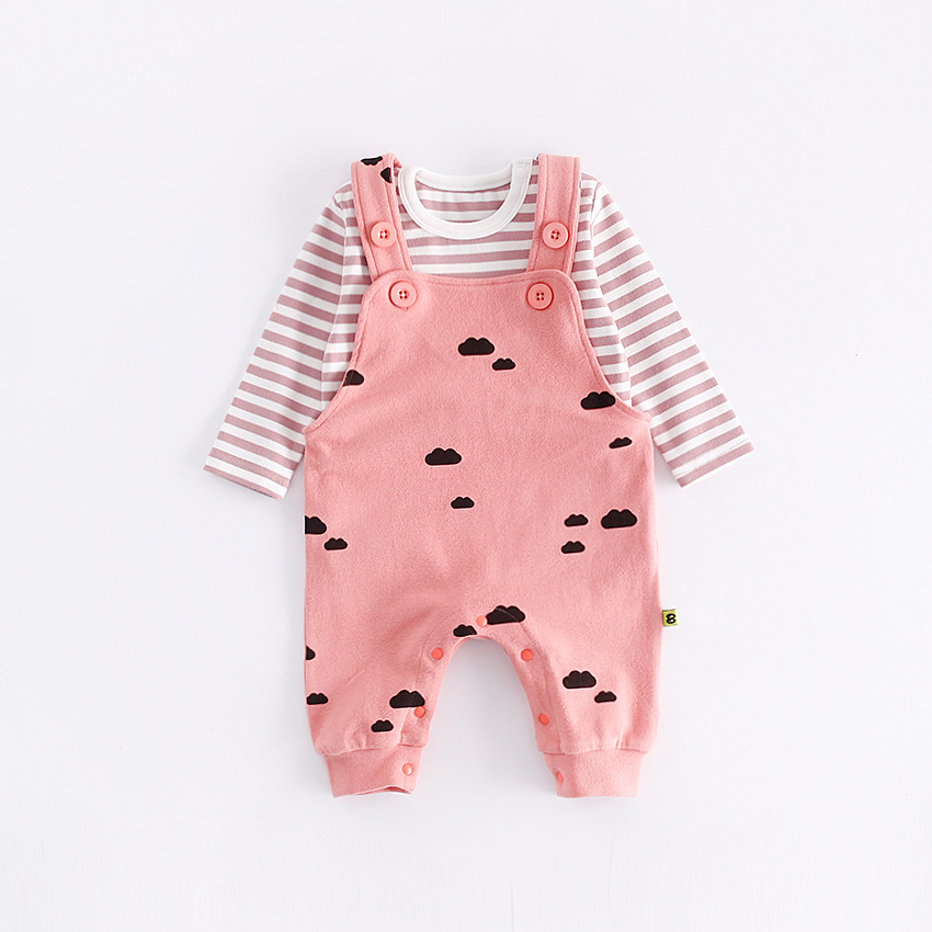 peninsula baby boy girl baby overalls winter Crawling Coverall cute striped long sleeve Thicken Romper soft keep warm Jumpsuit <br>
