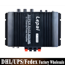 DHL Fedex 20pcs/lot LEPAI 168HA 2.1 Home Amplifier 12V With Bass Adjustment Mini Car Amplifier 40W x2+68W
