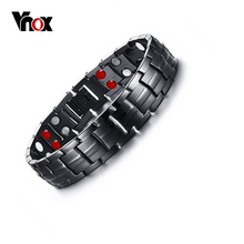Vnox Punk Healthy Energy Bracelet Men Black Chain Link Bracelets Jewelry Stainless Steel Magnet Charm Bracelets for Men Jewelry
