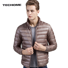 TECHOME New Arrivals Autumn Winter Mens Down Jacket Fashion Ultra Light Thin Warm Coat Men's White Duck Down Jackets Size 4XL