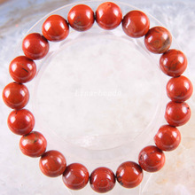 "Free Shipping Stretch 10mm Round Beads Natural Stone Red Jaspe Bracelet 8"" 1Pcs LH1723(China)"