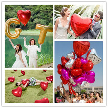 New 50pcs 10inch Heart Helium Foil Balloon Wedding Birthday Decor Pure Color Metallic Mylar Balloon Decaration 8 Colors 6ZSH808(China)