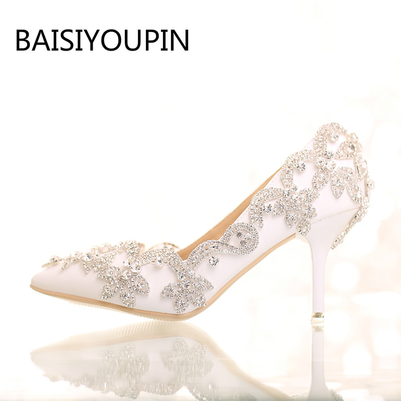 Crystal Shoes Wedding Shoes High Heels White Rhinestone BRIDE Shoes Pointed Shoes Toast Shallow Mouth Women Shoes Party Shoes<br>