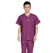 New Men Medical Scrub Sets Hospital Doctor Uniforms Dental Clinic Beauty Salon Short Sleeve Surgical Scrubs High Quality 232(China)