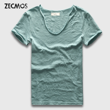 Zecmos Brand Men T-Shirt Plain Hip Hop Fashion Casual XXXL V Neck T Shirt Swag For Men Short Sleeve Man Top Tees(China)