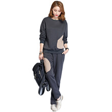Sports sweater two-piece suit 2018 Autumn winter Women Suits ladies Sweatshirt Tracksuit female Plus thick velvet Set for women(China)