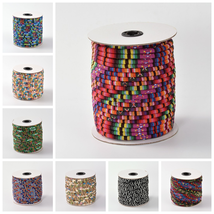 6mm 50yards Rope Cloth Ethnic Antique Colorful DIY Decoration Jewelry Making Roll Thick Round Thread Cord Wire Free Ship