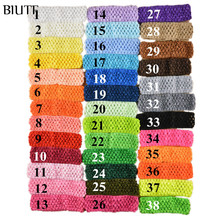 "38Colors Free Shipping Wholesale 50pcs/lot Hi-Quality 1.5"" girl Top TuTu crochet headband Hair Bow FD099"