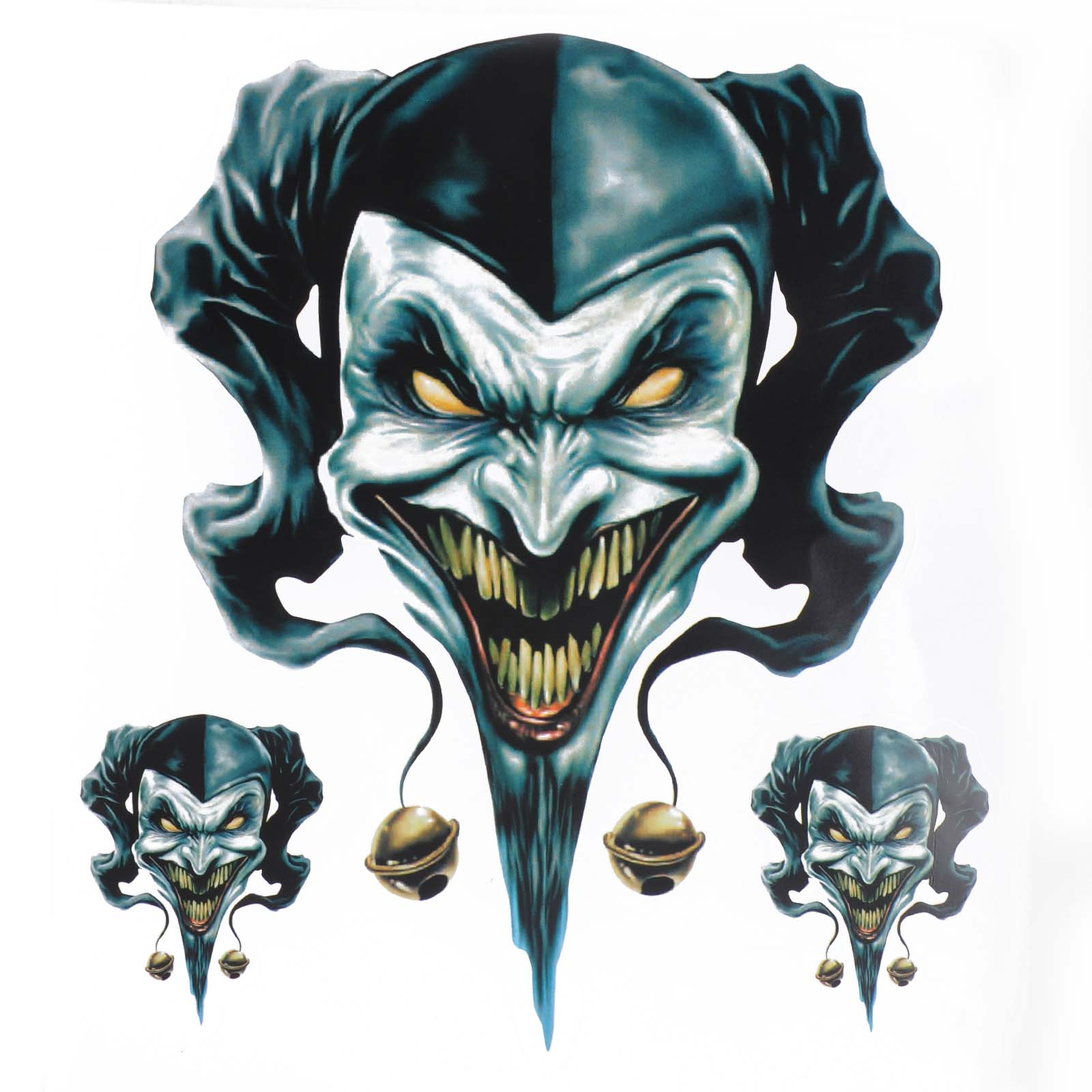 1 sheet 3pcs Clown Jester Graphic Sticker / Decal Set For Motorcycle Motorbike Auto Car