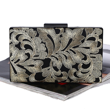 HOT Embroidery Diamonds Women Messenger Bags Handmade Golden Silver Clutches Evening Bags For Wedding/Party
