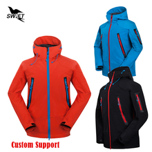HOT Custom logo 2017 Waterproof Hooded Softshell Jacket Men Winter Thermal Tech Fleece Hiking Clothing Ski Fishing Climbing Coat(China)
