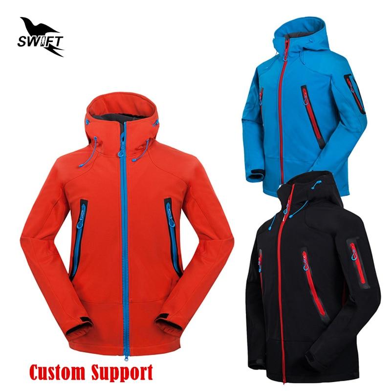 HOT Custom logo 2017 Waterproof Hooded Softshell Jacket Men Winter Thermal Tech Fleece Hiking Clothing Ski Fishing Climbing Coat<br>