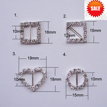 (S0307) 10pcs/lot,use for invitation card or gift box ribbon slider, crystal buckle ,rhinestone buckle(China)