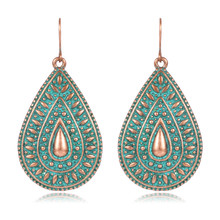 SHOWTRUE Simple Design Water drop earrings pendientes Green vintage Dangle earrings indian jewelry 2017(China)