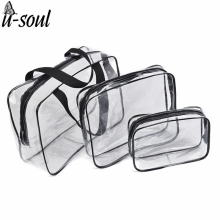 3Pcs Cosmetic Bag Set Fashion Transparent Beauty Bag Waterproof Handbags Wash Bags Ladies Make Up Bag SC0328(China)