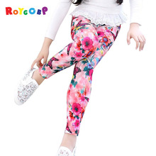 Girls Leggings Children Pants Print Flower Kids Girls Pants(China)