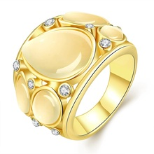 Jenia Cute Romantic Style Teadrop Opal Rings Yellow/Rose Gold Color Ring Women Simple Female Class Cheap Jewelry CPR778